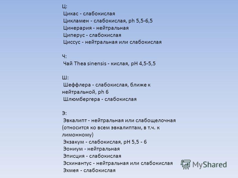 Ц: Цикас - слабокислая Цикламен - слабокислая, ph 5,5-6,5 Цинерария - нейтральная Циперус - слабокислая Циссус - нейтральная или слабокислая Ч: Чай Thea sinensis - кислая, рН 4,5-5,5 Ш: Шеффлера - слабокислая, ближе к нейтральной, ph 6 Шлюмбергера -