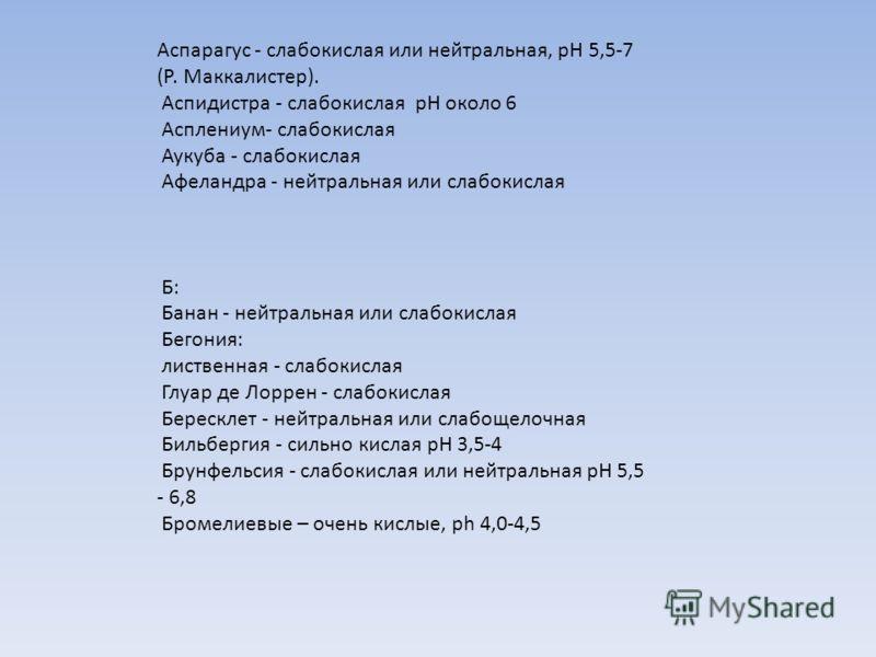 Аспарагус - слабокислая или нейтральная, рН 5,5-7 (Р. Маккалистер). Аспидистра - слабокислая pH около 6 Асплениум- слабокислая Аукуба - слабокислая Афеландра - нейтральная или слабокислая Б: Банан - нейтральная или слабокислая Бегония: лиственная - с