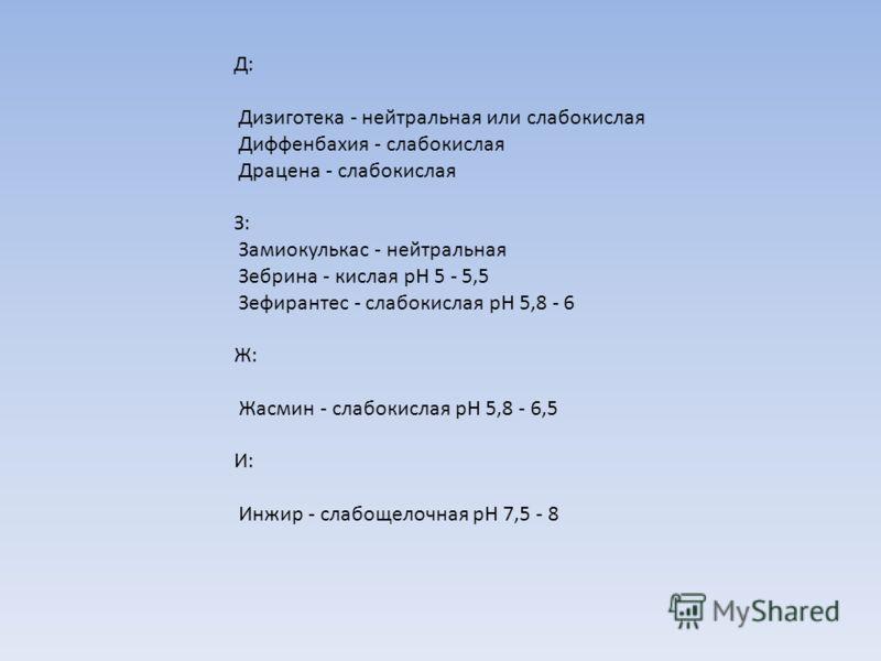 Д: Дизиготека - нейтральная или слабокислая Диффенбахия - слабокислая Драцена - слабокислая З: Замиокулькас - нейтральная Зебрина - кислая рН 5 - 5,5 Зефирантес - слабокислая рН 5,8 - 6 Ж: Жасмин - слабокислая рН 5,8 - 6,5 И: Инжир - слабощелочная рН