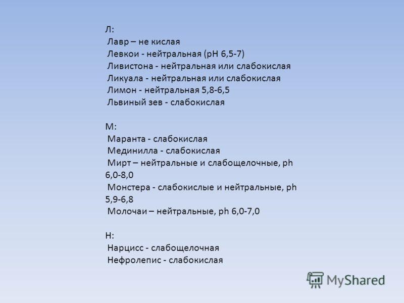Л: Лавр – не кислая Левкои - нейтральная (рН 6,5-7) Ливистона - нейтральная или слабокислая Ликуала - нейтральная или слабокислая Лимон - нейтральная 5,8-6,5 Львиный зев - слабокислая М: Маранта - слабокислая Мединилла - слабокислая Мирт – нейтральны