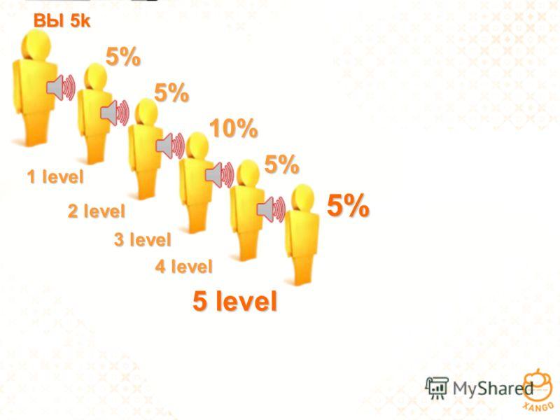1 level 1 level 2 level 2 level 3 level 3 level 4 level 4 level 5 level 5 level 5% 5% 5% 10% 10% 5% 5% ВЫ 5k