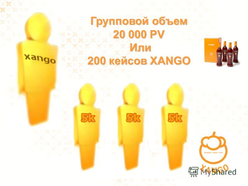 Групповой объем 20 000 PV Или 200 кейcов XANGO