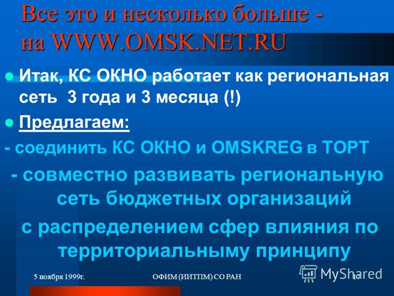 5 ноября 1999г.ОФИМ (ИИТПМ) СО РАН17 Все это и несколько больше - на WWW.OMSK.NET.RU Итак, КС ОКНО работает как региональная сеть 3 года и 3 месяца (!) Предлагаем: - соединить КС ОКНО и OMSKREG в ТОРТ - совместно развивать региональную сеть бюджетных