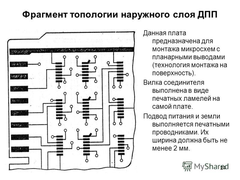 24 Фрагмент топологии наружного слоя ДПП Данная плата предназначена для монтажа микросхем с планарными выводами (технология монтажа на поверхность). Вилка соединителя выполнена в виде печатных ламелей на самой плате. Подвод питания и земли выполняетс