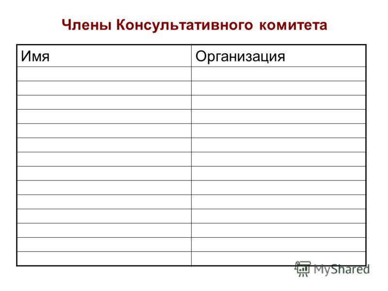 Члены Консультативного комитета ИмяОрганизация