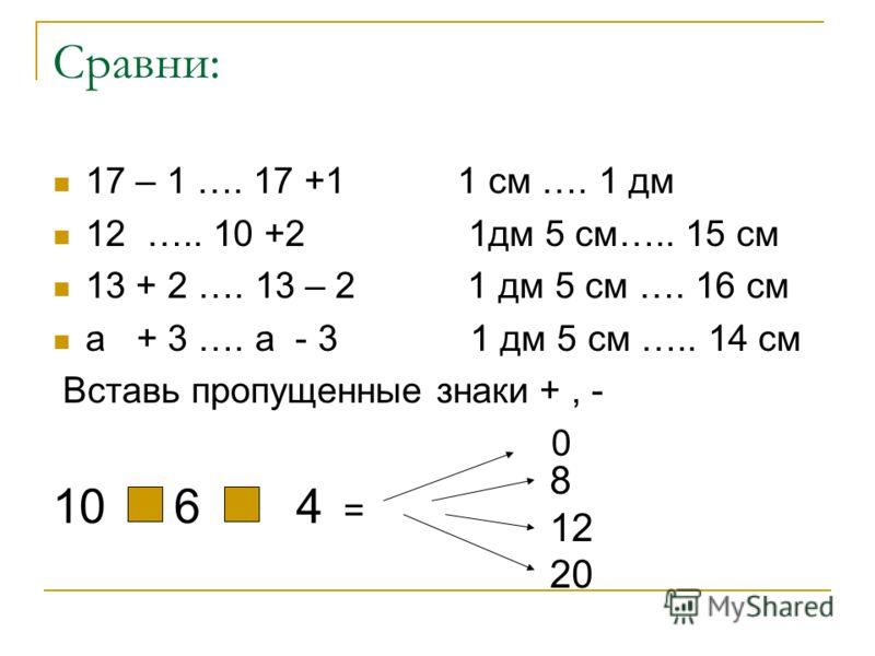 Сравни: 17 – 1 …. 17 +1 1 см …. 1 дм 12 ….. 10 +2 1дм 5 см….. 15 см 13 + 2 …. 13 – 2 1 дм 5 см …. 16 см а + 3 …. а - 3 1 дм 5 см ….. 14 см Вставь пропущенные знаки +, - 0 10 6 4 = 8 12 20
