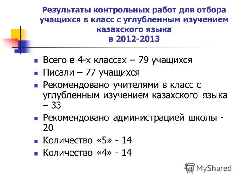 Результаты контрольных работ для отбора учащихся в класс с углубленным изучением казахского языка в 2012-2013 Всего в 4-х классах – 79 учащихся Писали – 77 учащихся Рекомендовано учителями в класс с углубленным изучением казахского языка – 33 Рекомен