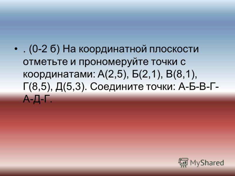 . (0-2 б) На координатной плоскости отметьте и прономеруйте точки с координатами: А(2,5), Б(2,1), В(8,1), Г(8,5), Д(5,3). Соедините точки: А-Б-В-Г- А-Д-Г.
