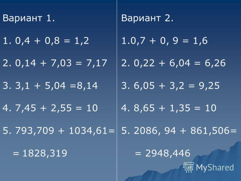 Вариант 1. 1. 0,4 + 0,8 = 1,2 2. 0,14 + 7,03 = 7,17 3. 3,1 + 5,04 =8,14 4. 7,45 + 2,55 = 10 5. 793,709 + 1034,61= = 1828,319 Вариант 2. 1.0,7 + 0, 9 = 1,6 2. 0,22 + 6,04 = 6,26 3. 6,05 + 3,2 = 9,25 4. 8,65 + 1,35 = 10 5. 2086, 94 + 861,506= = 2948,44