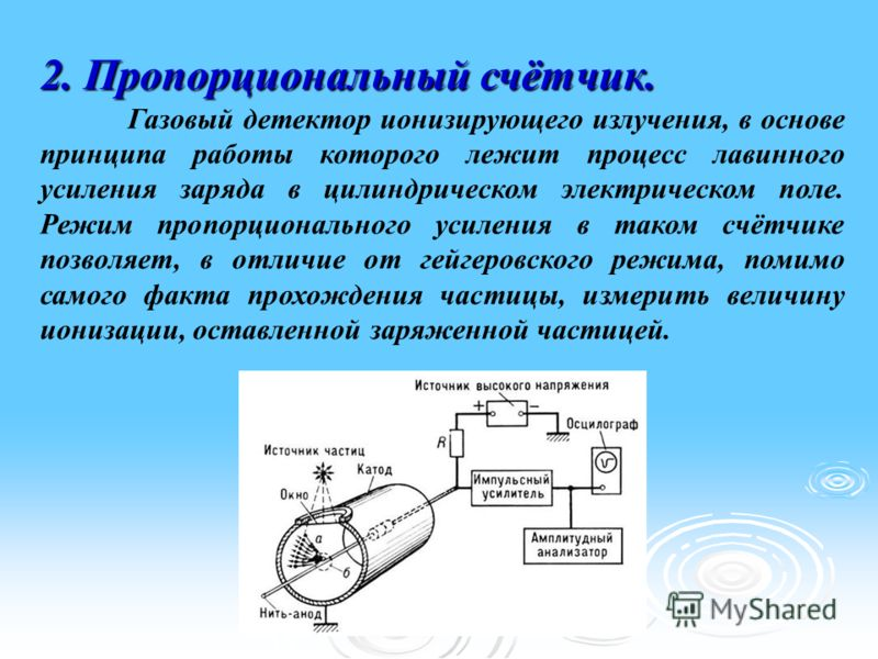 2. Пропорциональный счётчик. Газовый детектор ионизирующего излучения, в основе принципа работы которого лежит процесс лавинного усиления заряда в цилиндрическом электрическом поле. Режим пропорционального усиления в таком счётчике позволяет, в отлич