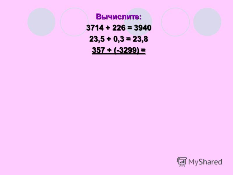 Вычислите: 3714 + 226 = 3940 23,5 + 0,3 = 23,8 357 + (-3299) =