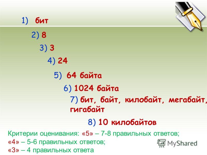 8) 10 килобайтов 1) бит 2) 8 3) 3 4) 24 5) 64 байта 6) 1024 байта 7) бит, байт, килобайт, мегабайт, гигабайт Критерии оценивания: «5» – 7-8 правильных ответов; «4» – 5-6 правильных ответов; «3» – 4 правильных ответа