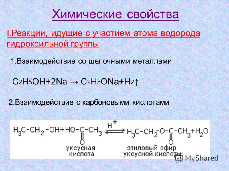 Химические свойства I.Реакции, идущие с участием атома водорода гидроксильной группы 1.Взаимодействие со щелочными металлами C 2 H 5 OH+2Na C 2 H 5 ONa+H 2 2.Взаимодействие с карбоновыми кислотами