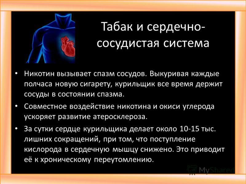 Табак и сердечно- сосудистая система Никотин вызывает спазм сосудов. Выкуривая каждые полчаса новую сигарету, курильщик все время держит сосуды в состоянии спазма. Совместное воздействие никотина и окиси углерода ускоряет развитие атеросклероза. За с