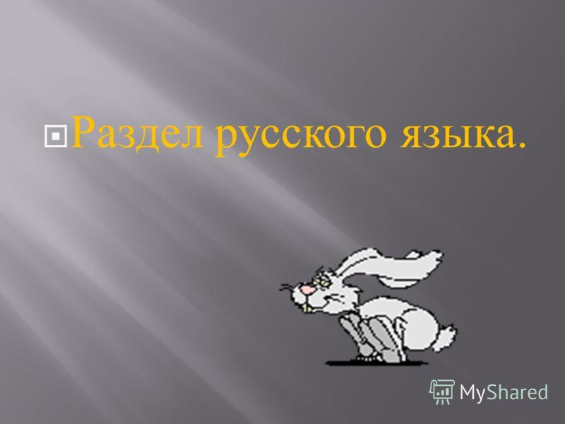 Раздел русского языка.