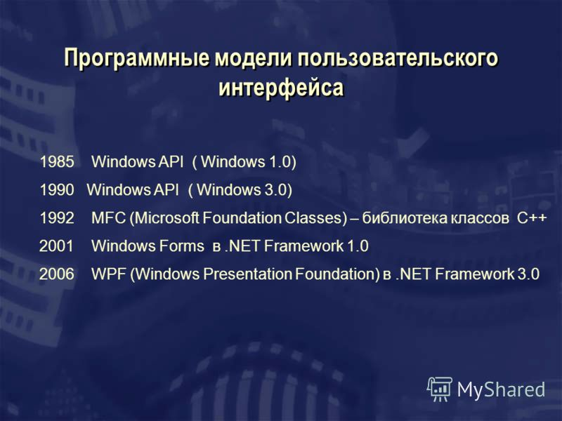 Программные модели пользовательского интерфейса 1985 Windows API ( Windows 1.0) 1990 Windows API ( Windows 3.0) 1992 MFC (Microsoft Foundation Classes) – библиотека классов C++ 2001 Windows Forms в.NET Framework 1.0 2006 WPF (Windows Presentation Fou