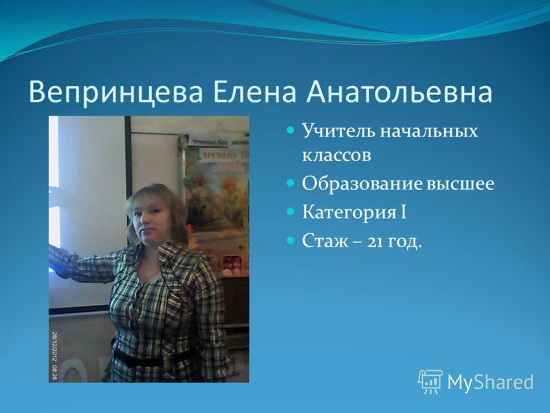 Вепринцева Елена Анатольевна Учитель начальных классов Образование высшее Категория I Стаж – 21 год.