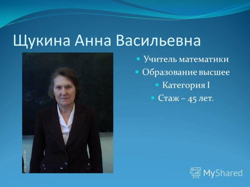 Щукина Анна Васильевна Учитель математики Образование высшее Категория I Стаж – 45 лет.
