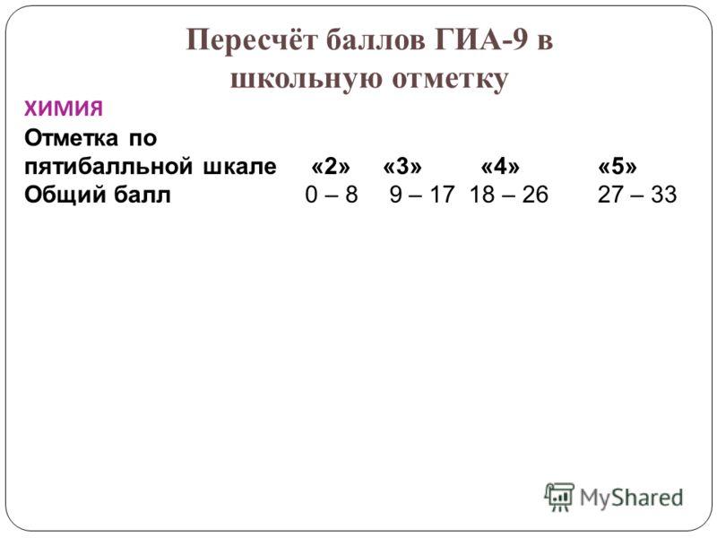 Пересчёт баллов ГИА-9 в школьную отметку ХИМИЯ Отметка по пятибалльной шкале «2» «3» «4» «5» Общий балл 0 – 8 9 – 17 18 – 26 27 – 33