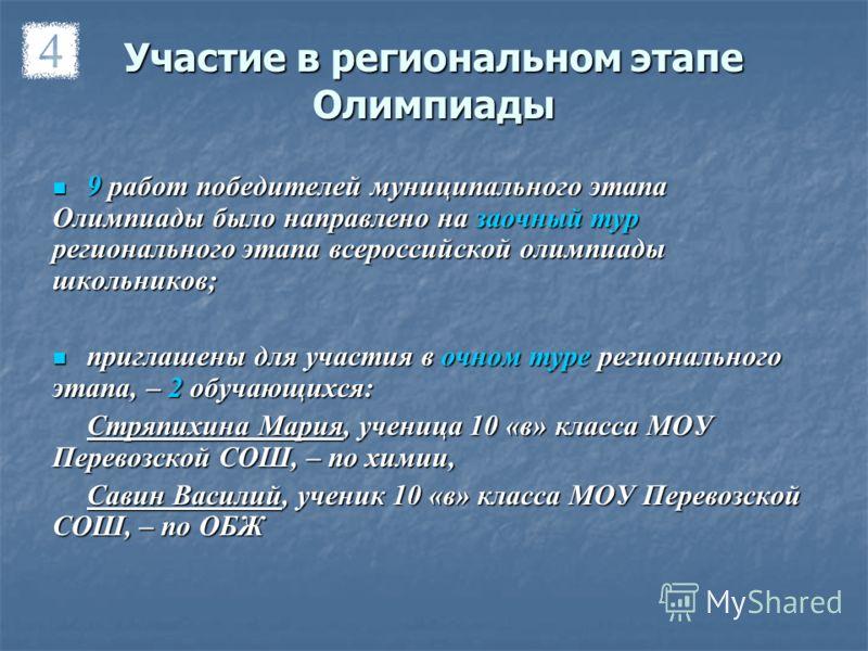 Участие в региональном этапе Олимпиады 9 работ победителей муниципального этапа Олимпиады было направлено на заочный тур регионального этапа всероссийской олимпиады школьников; 9 работ победителей муниципального этапа Олимпиады было направлено на зао