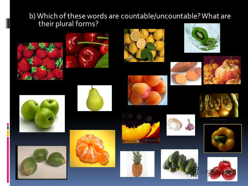 b) Which of these words are countable/uncountable? What are their plural forms?