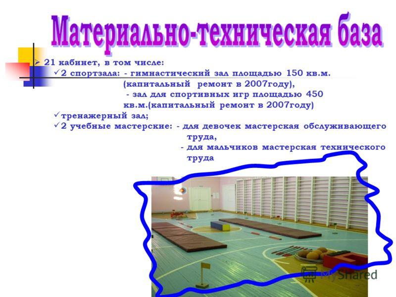 21 кабинет, в том числе: 2 спортзала: - гимнастический зал площадью 150 кв.м. (капитальный ремонт в 2007году), - зал для спортивных игр площадью 450 кв.м.(капитальный ремонт в 2007году) тренажерный зал; 2 учебные мастерские: - для девочек мастерская