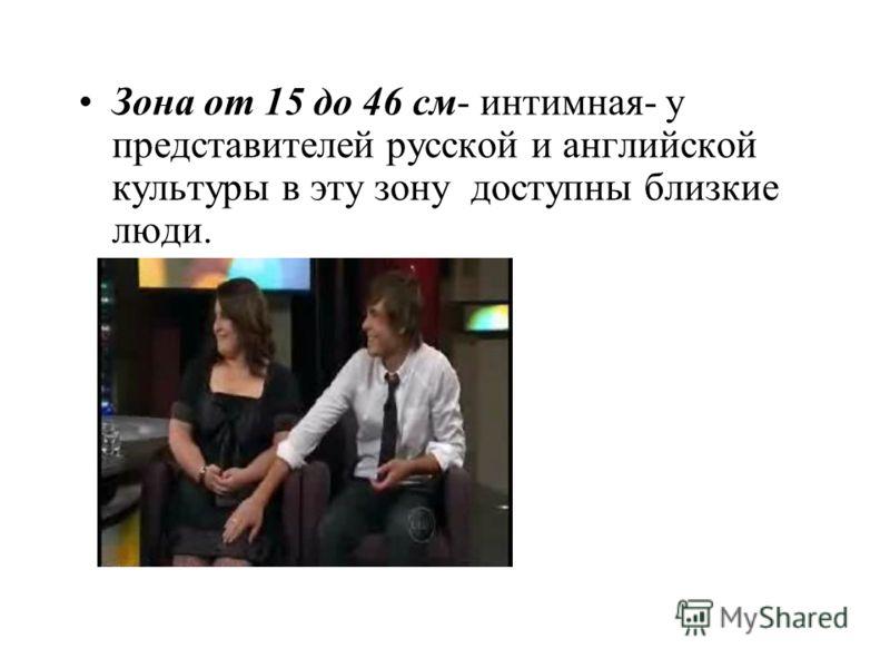 Зона от 15 до 46 см- интимная- у представителей русской и английской культуры в эту зону доступны близкие люди.