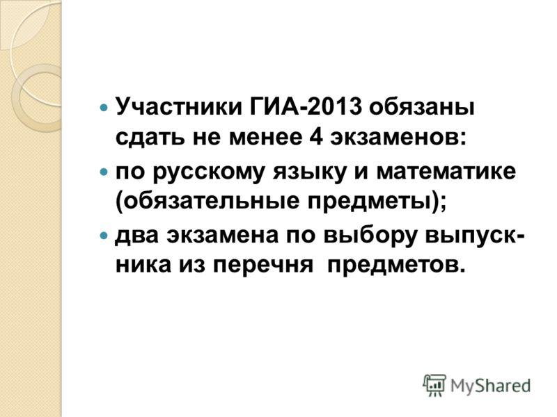 Участники ГИА-2013 обязаны сдать не менее 4 экзаменов: по русскому языку и математике (обязательные предметы); два экзамена по выбору выпуск ника из перечня предметов.