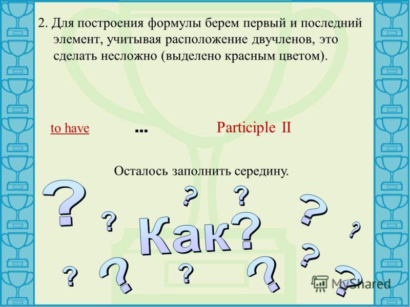 2. Для построения формулы берем первый и последний элемент, учитывая расположение двучленов, это сделать несложно (выделено красным цветом). to have … Participle II Осталось заполнить середину.