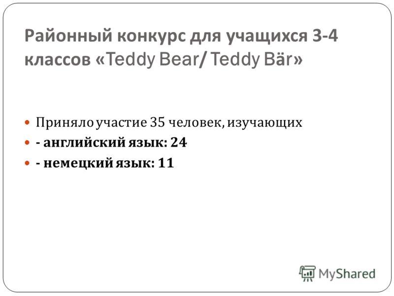 Районный конкурс для учащихся 3-4 классов «Teddy Bear/ Teddy Bär» Приняло участие 35 человек, изучающих - английский язык : 24 - немецкий язык : 11