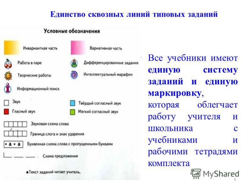 6 Единство сквозных линий типовых заданий Все учебники имеют единую систему заданий и единую маркировку, которая облегчает работу учителя и школьника с учебниками и рабочими тетрадями комплекта
