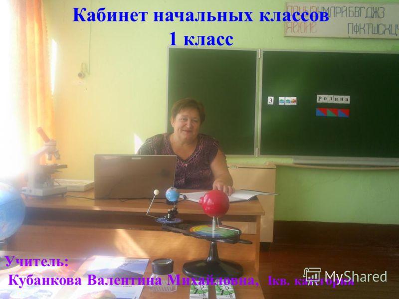 Кабинет начальных классов 1 класс Учитель: Кубанкова Валентина Михайловна, Iкв. категория