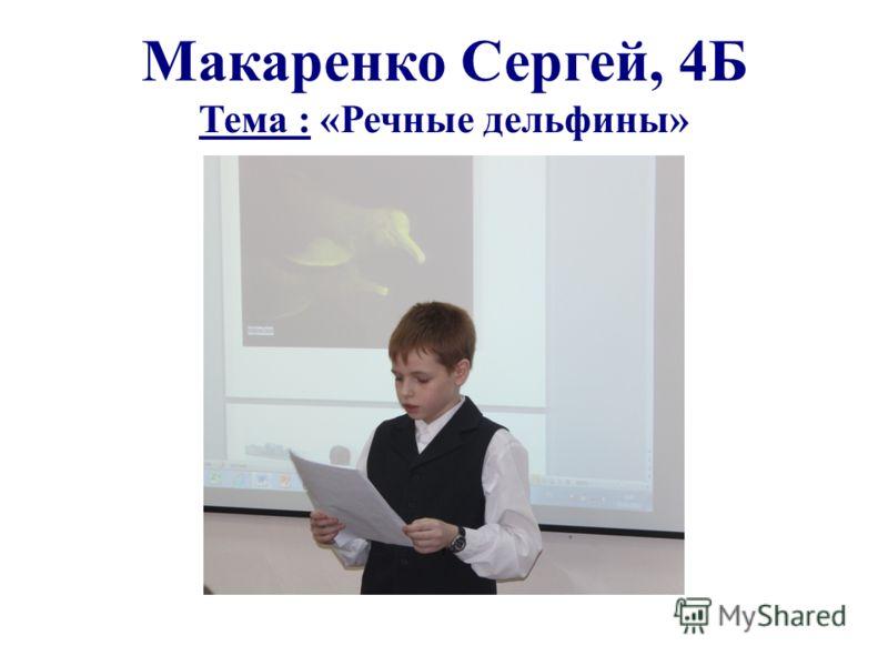 Макаренко Сергей, 4Б Тема : «Речные дельфины»