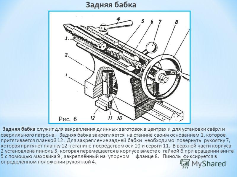 Задняя бабка Задняя бабка служит для закрепления длинных заготовок в центрах и для установки свёрл и сверлильного патрона. Задняя бабка закрепляется на станине своим основанием 1, которое притягивается планкой 12. Для закрепление задней бабки необход
