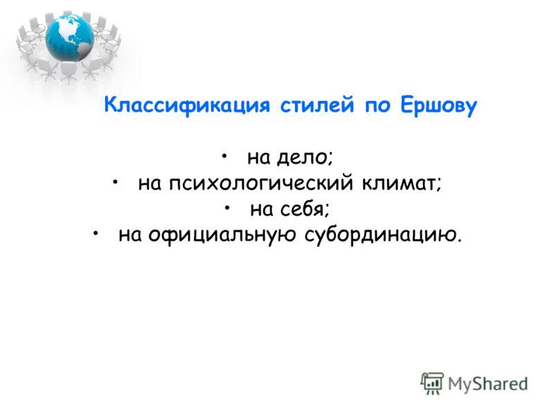 Классификация стилей по Ершову на дело; на психологический климат; на себя; на официальную субординацию.