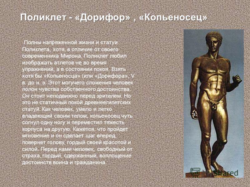 Полны напряженной жизни и статуи Поликлета, хотя, в отличие от своего современника Мирона, Поликлет любил изображать атлетов не во время упражнений, а в состоянии покоя. Взять хотя бы «Копьеносца» (или «Дорифора», V в. до н. э. Этот могучего сложения