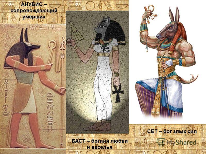 СЕТ – бог злых сил БАСТ – богиня любви и веселья АНУБИС – сопровождающий умерших