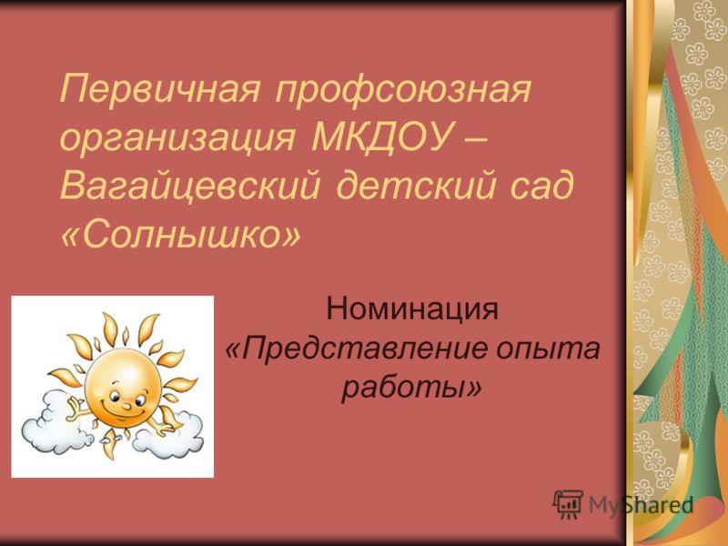 Первичная профсоюзная организация МКДОУ – Вагайцевский детский сад «Солнышко» Номинация «Представление опыта работы»