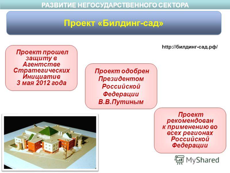 Проект прошел защиту в Агентстве Стратегических Инициатив 3 мая 2012 года Проект одобрен Президентом Российской Федерации В.В.Путиным Проект рекомендован к применению во всех регионах Российской Федерации http://билдинг-сад.рф/ РАЗВИТИЕ НЕГОСУДАРСТВЕ
