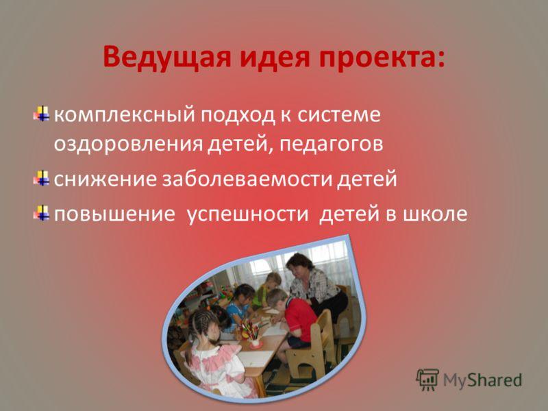 Ведущая идея проекта: комплексный подход к системе оздоровления детей, педагогов снижение заболеваемости детей повышение успешности детей в школе