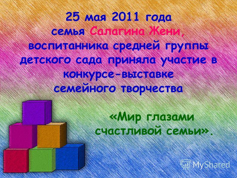 25 мая 2011 года семья Салагина Жени, воспитанника средней группы детского сада приняла участие в конкурсе-выставке семейного творчества «Мир глазами счастливой семьи».