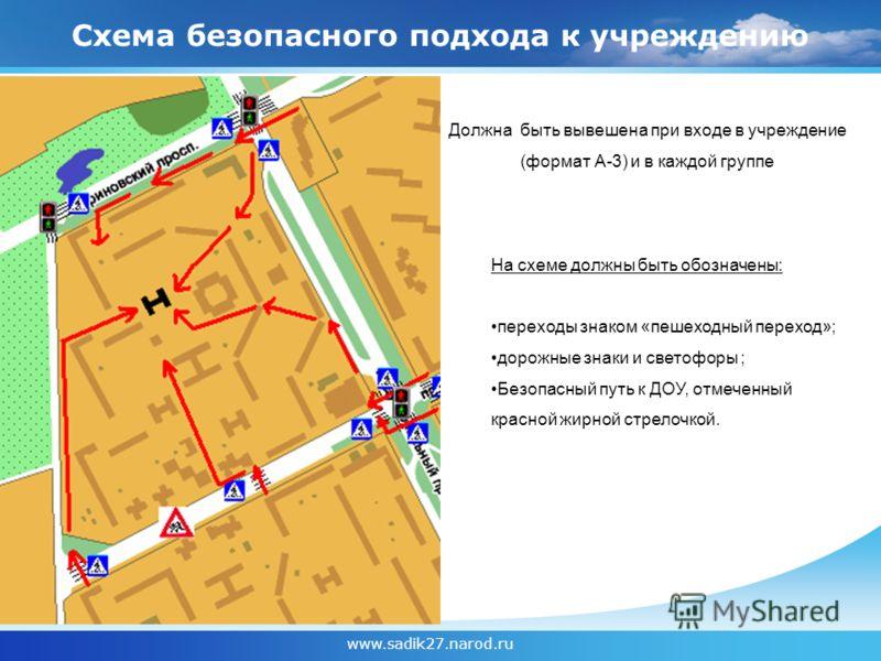 Схема безопасного подхода к учреждению www.sadik27.narod.ru На схеме должны быть обозначены: переходы знаком «пешеходный переход»; дорожные знаки и светофоры ; Безопасный путь к ДОУ, отмеченный красной жирной стрелочкой. Должна быть вывешена при вход