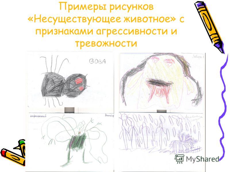 Примеры рисунков «Несуществующее животное» с признаками агрессивности и тревожности