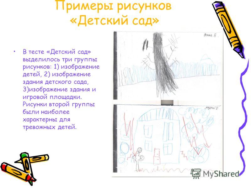 Примеры рисунков «Детский сад» В тесте «Детский сад» выделилось три группы рисунков: 1) изображение детей, 2) изображение здания детского сада, 3)изображение здания и игровой площадки. Рисунки второй группы были наиболее характерны для тревожных дете