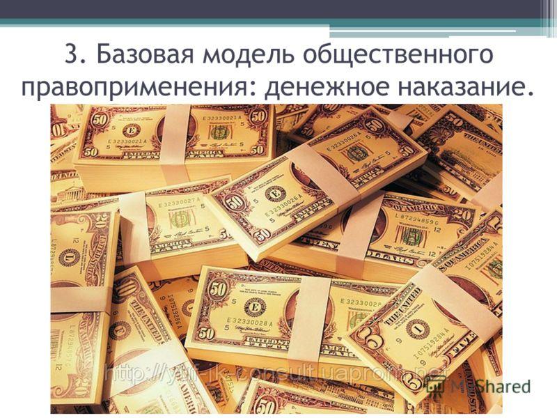 3. Базовая модель общественного правоприменения: денежное наказание.