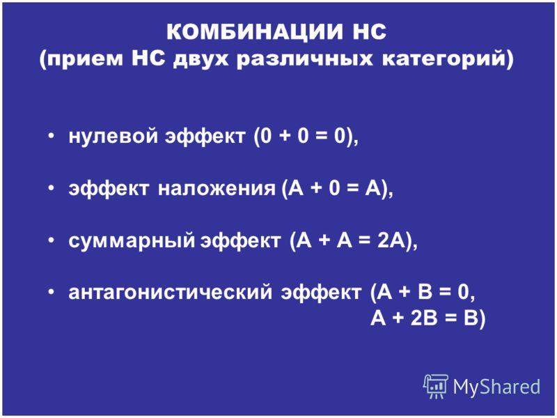 нулевой эффект (0 + 0 = 0), эффект наложения (А + 0 = А), суммарный эффект (А + А = 2А), антагонистический эффект (А + В = 0, А + 2В = В) КОМБИНАЦИИ НС (прием НС двух различных категорий)