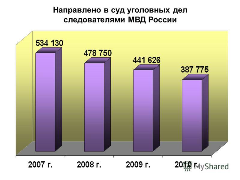 Направлено в суд уголовных дел следователями МВД России