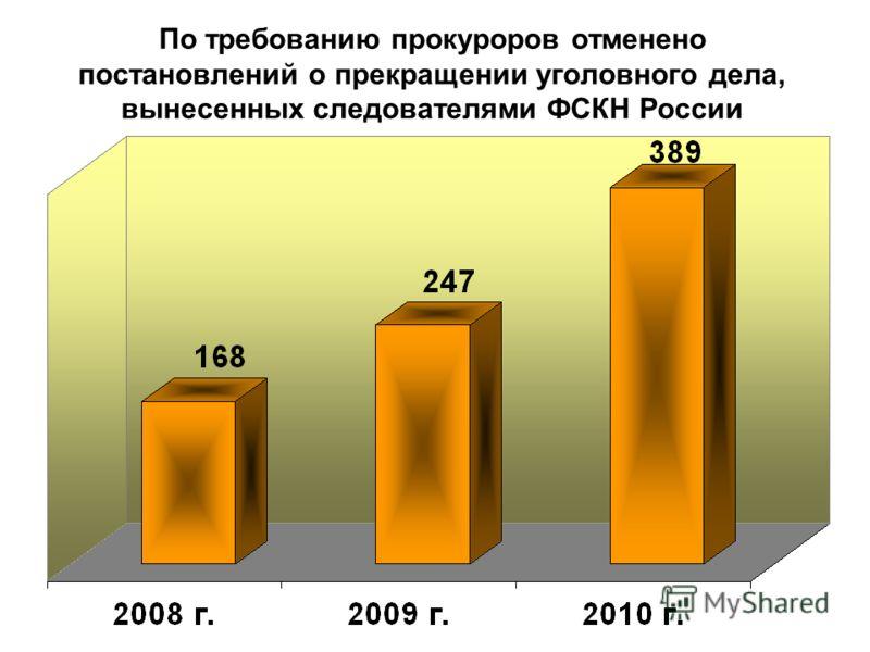 По требованию прокуроров отменено постановлений о прекращении уголовного дела, вынесенных следователями ФСКН России