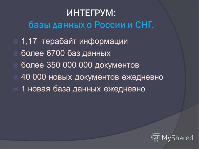 ИНТЕГРУМ: базы данных о России и СНГ. 1,17 терабайт информации более 6700 баз данных более 350 000 000 документов 40 000 новых документов ежедневно 1 новая база данных ежедневно