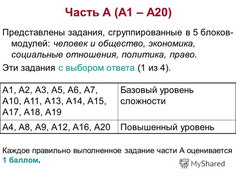 Часть А (А1 – А20) Представлены задания, сгруппированные в 5 блоков- модулей: человек и общество, экономика, социальные отношения, политика, право. Эти задания с выбором ответа (1 из 4). А1, А2, А3, А5, А6, А7, А10, А11, А13, А14, А15, А17, А18, А19